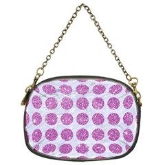 Circles1 White Marble & Purple Glitter (r) Chain Purses (two Sides)
