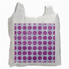 Circles1 White Marble & Purple Glitter (r) Recycle Bag (one Side)