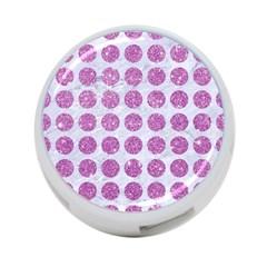 Circles1 White Marble & Purple Glitter (r) 4 Port Usb Hub (two Sides)