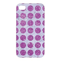 Circles1 White Marble & Purple Glitter (r) Apple Iphone 4/4s Hardshell Case