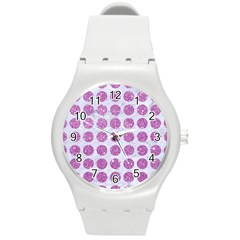 Circles1 White Marble & Purple Glitter (r) Round Plastic Sport Watch (m)