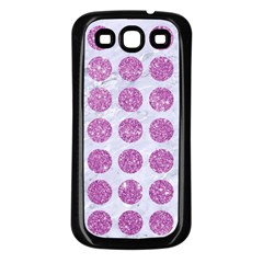 Circles1 White Marble & Purple Glitter (r) Samsung Galaxy S3 Back Case (black)