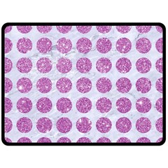Circles1 White Marble & Purple Glitter (r) Double Sided Fleece Blanket (large)