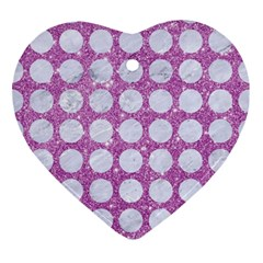 Circles1 White Marble & Purple Glitter Ornament (heart)