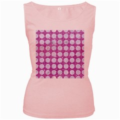 Circles1 White Marble & Purple Glitter Women s Pink Tank Top