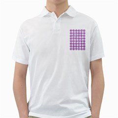 Circles1 White Marble & Purple Glitter Golf Shirts