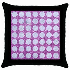 Circles1 White Marble & Purple Glitter Throw Pillow Case (black)