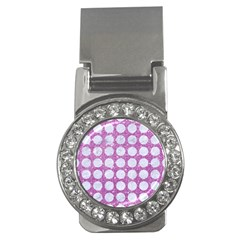 Circles1 White Marble & Purple Glitter Money Clips (cz)
