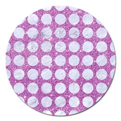 Circles1 White Marble & Purple Glitter Magnet 5  (round)
