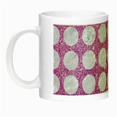 Circles1 White Marble & Purple Glitter Night Luminous Mugs