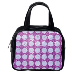 Circles1 White Marble & Purple Glitter Classic Handbags (one Side)