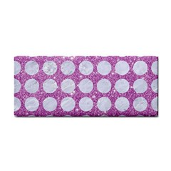 Circles1 White Marble & Purple Glitter Cosmetic Storage Cases