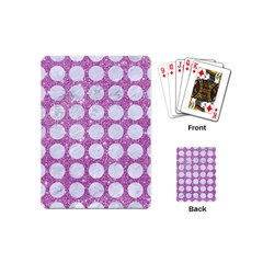 Circles1 White Marble & Purple Glitter Playing Cards (mini)
