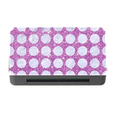 Circles1 White Marble & Purple Glitter Memory Card Reader With Cf