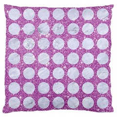 Circles1 White Marble & Purple Glitter Large Cushion Case (one Side)