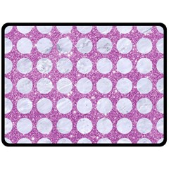 Circles1 White Marble & Purple Glitter Double Sided Fleece Blanket (large)