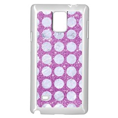 Circles1 White Marble & Purple Glitter Samsung Galaxy Note 4 Case (white)