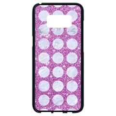 Circles1 White Marble & Purple Glitter Samsung Galaxy S8 Black Seamless Case
