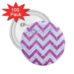 Chevron9 White Marble & Purple Glitter (r) 2 25  Buttons (100 Pack)