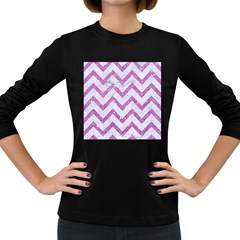Chevron9 White Marble & Purple Glitter (r) Women s Long Sleeve Dark T Shirts