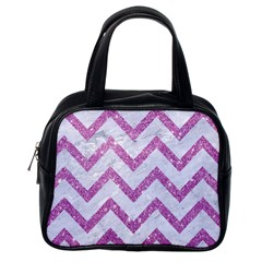 Chevron9 White Marble & Purple Glitter (r) Classic Handbags (one Side)