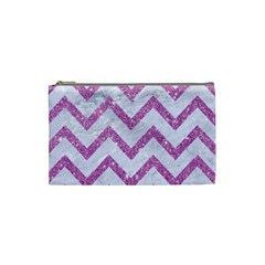 Chevron9 White Marble & Purple Glitter (r) Cosmetic Bag (small)