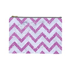 Chevron9 White Marble & Purple Glitter (r) Cosmetic Bag (large)