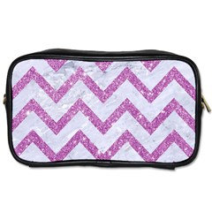 Chevron9 White Marble & Purple Glitter (r) Toiletries Bags 2 Side