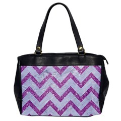 Chevron9 White Marble & Purple Glitter (r) Office Handbags