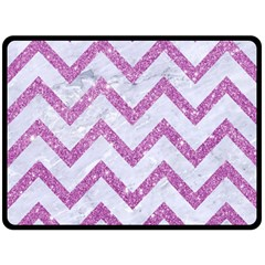 Chevron9 White Marble & Purple Glitter (r) Fleece Blanket (large)