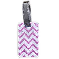 Chevron9 White Marble & Purple Glitter (r) Luggage Tags (one Side)