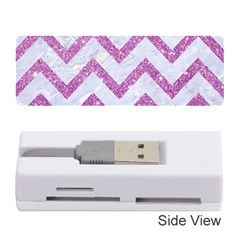 Chevron9 White Marble & Purple Glitter (r) Memory Card Reader (stick)  by trendistuff
