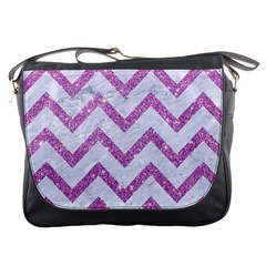 Chevron9 White Marble & Purple Glitter (r) Messenger Bags