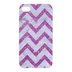 Chevron9 White Marble & Purple Glitter (r) Apple Iphone 4/4s Premium Hardshell Case