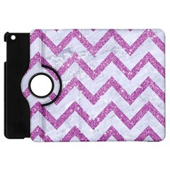 Chevron9 White Marble & Purple Glitter (r) Apple Ipad Mini Flip 360 Case