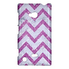 Chevron9 White Marble & Purple Glitter (r) Nokia Lumia 720