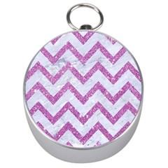 Chevron9 White Marble & Purple Glitter (r) Silver Compasses by trendistuff