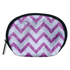 Chevron9 White Marble & Purple Glitter (r) Accessory Pouches (medium)