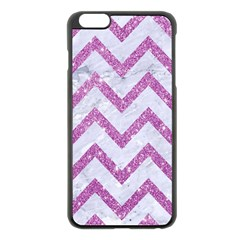 Chevron9 White Marble & Purple Glitter (r) Apple Iphone 6 Plus/6s Plus Black Enamel Case
