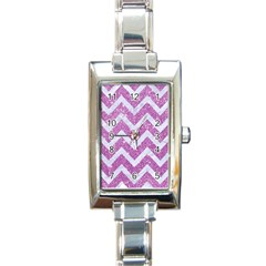 Chevron9 White Marble & Purple Glitter Rectangle Italian Charm Watch