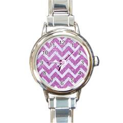 Chevron9 White Marble & Purple Glitter Round Italian Charm Watch