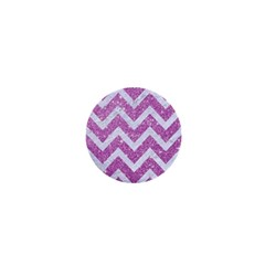 Chevron9 White Marble & Purple Glitter 1  Mini Magnets