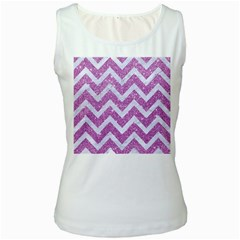 Chevron9 White Marble & Purple Glitter Women s White Tank Top