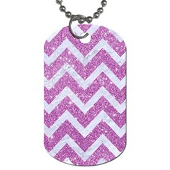 Chevron9 White Marble & Purple Glitter Dog Tag (one Side)