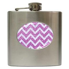 Chevron9 White Marble & Purple Glitter Hip Flask (6 Oz)