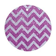 Chevron9 White Marble & Purple Glitter Round Ornament (two Sides)