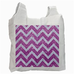 Chevron9 White Marble & Purple Glitter Recycle Bag (two Side)