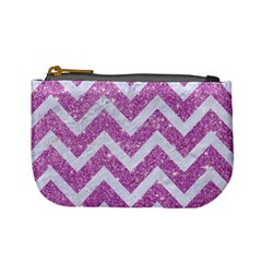 Chevron9 White Marble & Purple Glitter Mini Coin Purses