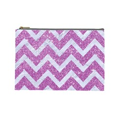 Chevron9 White Marble & Purple Glitter Cosmetic Bag (large)