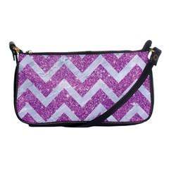 Chevron9 White Marble & Purple Glitter Shoulder Clutch Bags